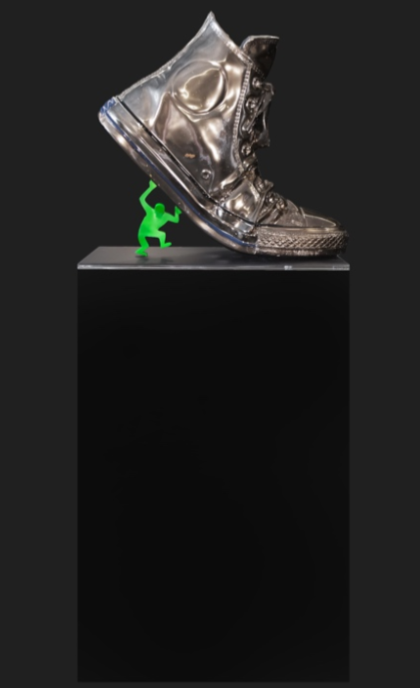 angelo accardi sculpture omino-chrome-converse-green-haring-70x35x65